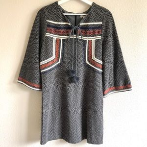 Esley Embroidered Knit Wide Sleeve Dress
